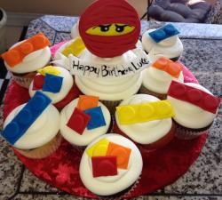 Lego birthday cup cakes with lego bricks decor with lego Ninjago.JPG