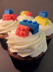 Lego birthday cupcakes pictures with colorful lego blocks cupcake toppers.JPG