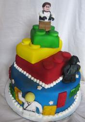 Lego star wars with cute lego minifigure cake toppers.JPG