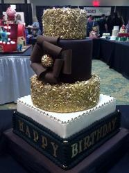 5 Tier Large Glitter & Chocolate Cake with Pillow-like base layers.JPG
