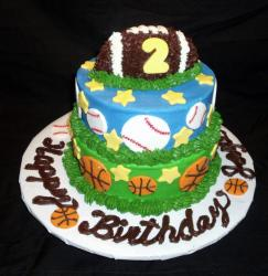 Home-made 2 tier Sports Theme Cake for 2 year old.JPG