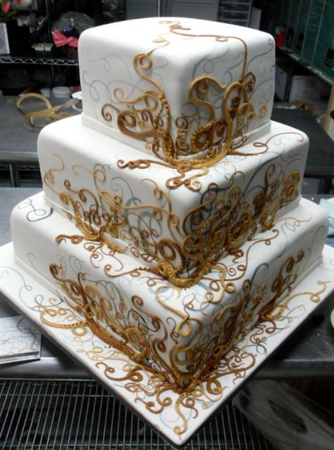Cool Three Tier Square Wedding Cake With Golden Swirls Jpg