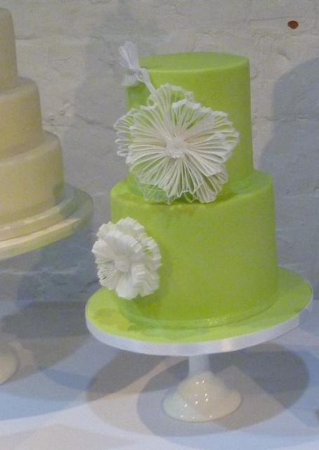bright green 2 tier cylindrical wedding cake jpg