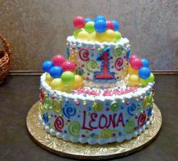 2 Tier Colorful Balls Theme First Birthday Cake in White Cream.JPG