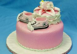 Pink Baby Shower Cake with little Converse booties for Girl.JPG