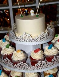 Lego wedding cake with cake and cupcakes.JPG