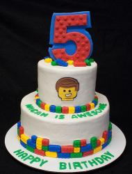 Two tiers lego birthday cake with number 5 cake topper.JPG