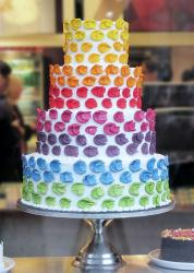 White Four Level Wedding Cake with Colorful Pattern.JPG