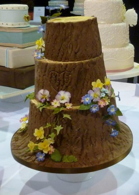 Creative Tree Carving 3 tier tree trunk Wedding Cake.JPG