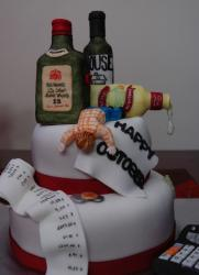 Liquor and drunk person cake