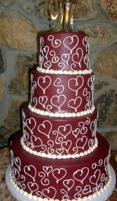 Four Tier Maroon Wedding Cake Jpg
