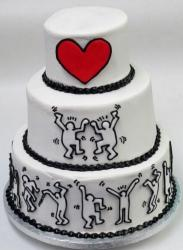 Dancing Theme 3 Tier Wedding Cake with Red Heart.JPG