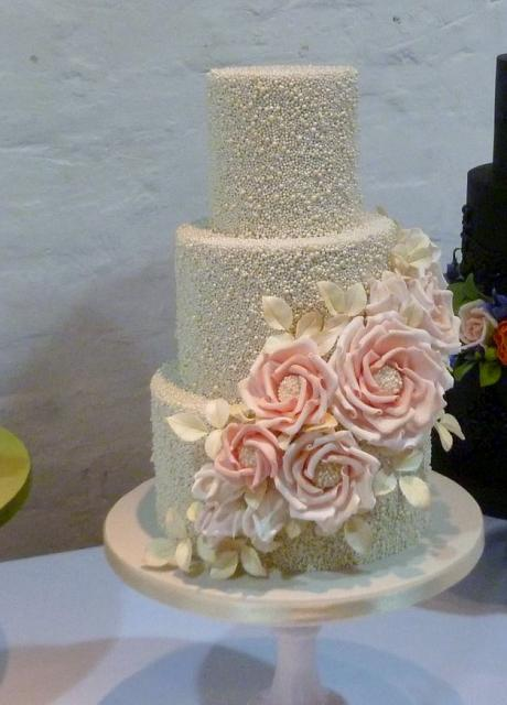 Glittery Pearl 3 Tier Wedding Cake With Cascading Pink FlowersJPG Hi Res 720p HD