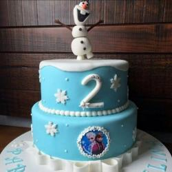 Frozen Theme Second Birthday Cake in Two Tiers & Olaf on top.JPG