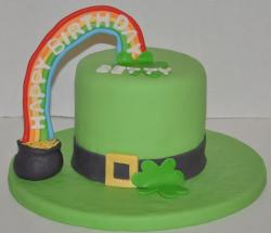 Green Irish St Patrick's Day cake with clovers and pot of gold at the end of the rainbow.JPG