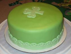 St. Patrick's Day Cake in light green color.JPG