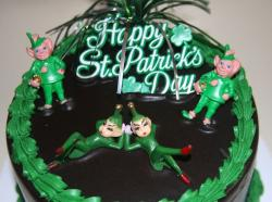 St. Patrick's Day Cake with fun cool cake decor.JPG