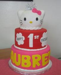 Two tier Hello Kitty first birthday cake.JPG