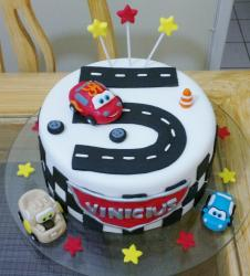 Cars Theme Fifth Birthday Cake with Track in the Shape of Number 5.JPG