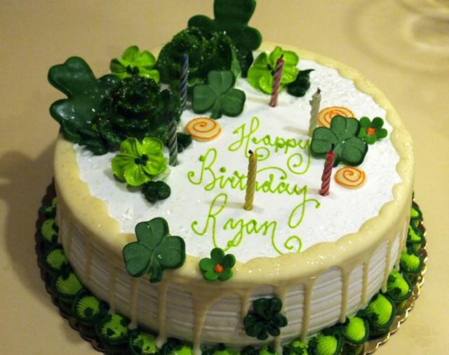 St. Patrick's birthday cake with cloves leafs and flowers.JPG