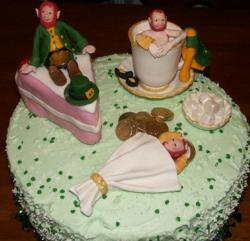 St. Patricks cake with funny St Patricks cake decors.JPG