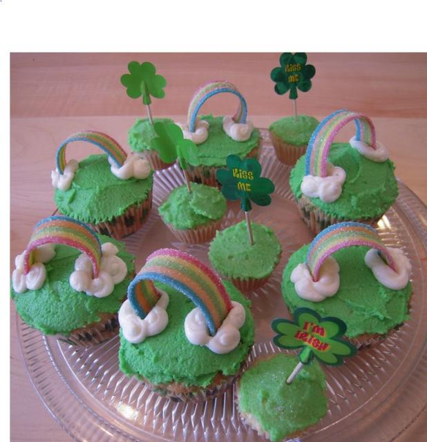 St. Patrick's Day party cupcakes with candy cupcake decor.JPG