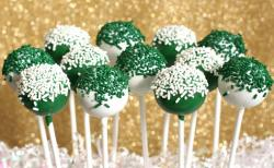St. Patrick's Day party popcakes in white and green with green white sprinkles.JPG