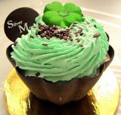 Chic St. Patrick's Day cupcake with mint frosting with chocolate sprinkles and clove cupcake decor.JPG