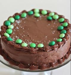 Chocolate homemade St. Patrick cake with green M & Ms.JPG