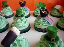 Chocolate St Patricks cupcakes with cupcakes toppers with St Patricks hats, golden pots, Irish flags.JPG