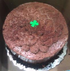 Delicious St Patricks cake with chocolate whipped cream and a single clove.JPG