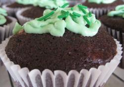Homemade chocolate St Patricks cupcakes with green frosting and green sprinkles.JPG