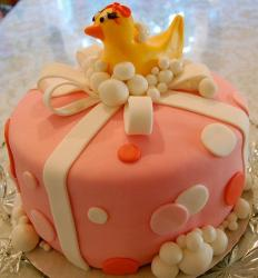 Rubber ducky pink baby shower cake.JPG