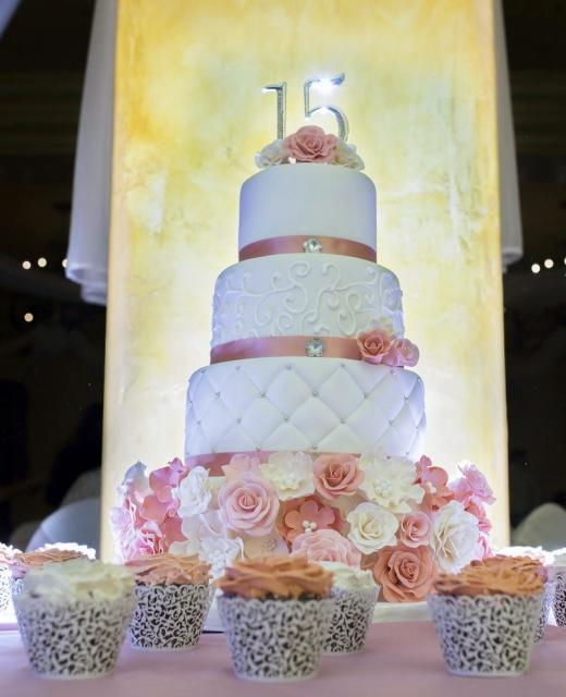 Elegant 4 Tier 15th Birthday Cake With Matching Cupcakes