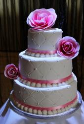 3 Tier Wedding Cake with Large Pink Flowers.JPG