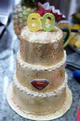 Gold Dusted 3 tier 60th Birthday Cake with Superman Sign.JPG