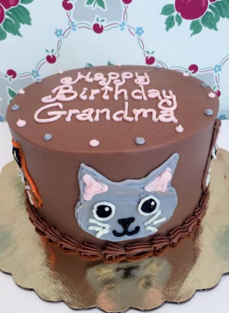 Chocolate Birthday Cake With Cat Face For Grandmother
