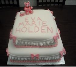 Two tier Christening Cake with pink teddy bear topper