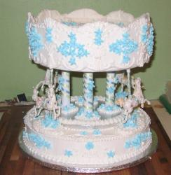 unique Christening Cake in white and blue patterns