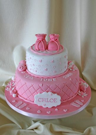 Hot Pink Christening Cake With Girl Baby Shoes Topper 2