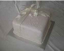 White gift box Christening Cake photos