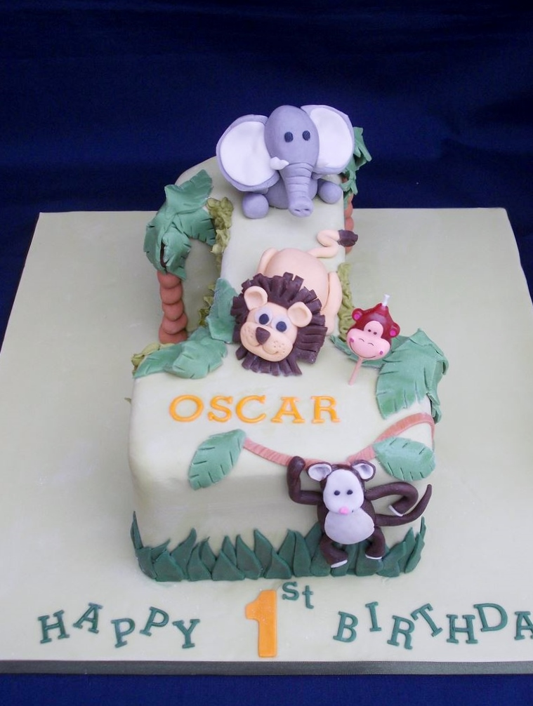 Safari Animal Theme First Birthday Cake in the Shape of Number 1.JPG