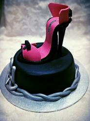 Pink & Black High Heel Shoes Cake.JPG