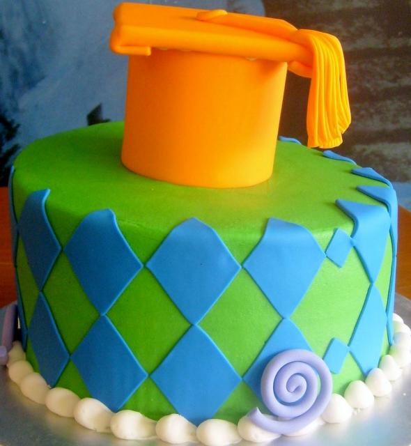 Green Graducation Cake with Orange Cap & Tassels.JPG