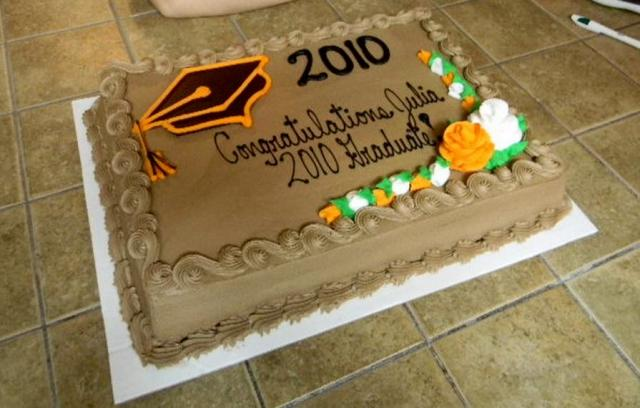 Chocolate Graduation Cake With Cap And Congratulations Saying Jpg