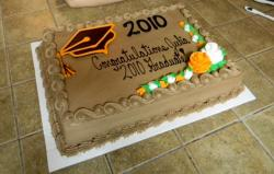 Chocolate Graduation Cake with Cap and Congratulations Saying.JPG