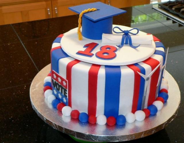 Red White Blue Striped Graduation Cake With Cap Amp Diploma Jpg