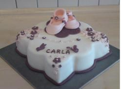 Very cute Christening Cake with light pink baby shoes topper photo