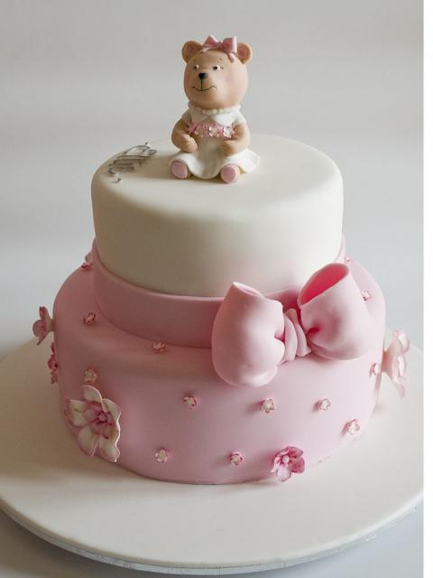 White and light pink Christening Cake with teddy bear topper_very cute cake
