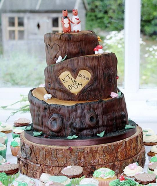 autumn themed wedding cake toppers tree theme wedding cake in 3 tiers with carved hearts 10898
